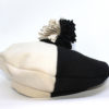 bicolour black and white beret with pom-pom