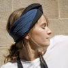 indigo silk open turban