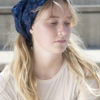 Indigo silk headscarf
