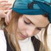 turquoise black lines open turban