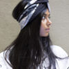 black shibori silk open turban